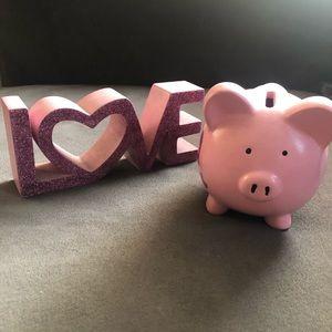 Love Home Decor and Piggy Bank